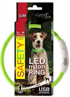 DOG FANTASY obojok LED nylon zelený 45 cm